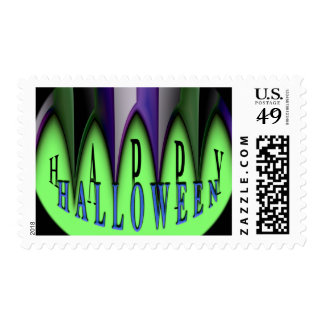Green Happy Halloween Striped Fangs Postage