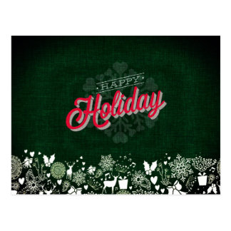 Green Happy Holiday Postcard