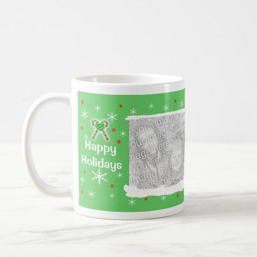 Green Happy Holiday Snowflakes 2-Photo Frame Coffee Mug