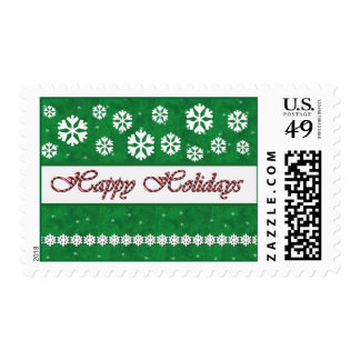 GREEN Happy Holidays Candy Cane & Snowflakes Postage Stamps