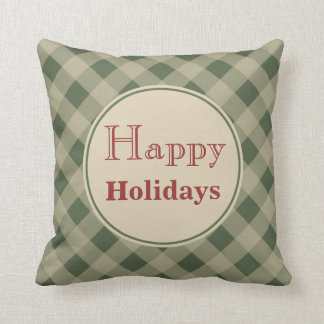 Green Happy Holidays Pillow