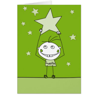 green happy monster is catching a falling star card
