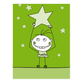 green happy monster is catching a falling star postcards