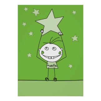green happy monster is catching a falling star poster