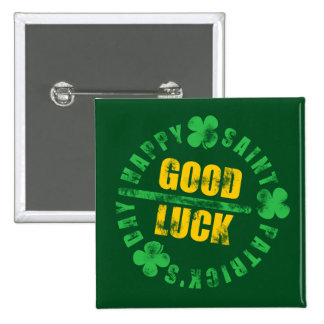 Green Happy Saint Patricks Day Good Luck Button
