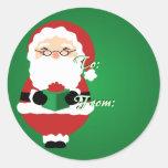 Green Happy Santa Christmas Tags Sticker