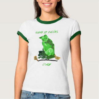 Green Happy St. Paddy's Day Kitty T-Shirt