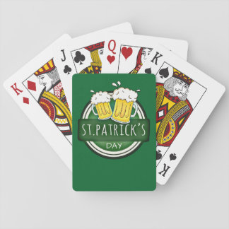 Green Happy St Patricks Day Shield With Two Beers Playing Cards