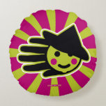 Hand shaped Green Happy Witch Round Pillow