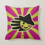 Hand shaped Green Happy Witch Throw Pillow