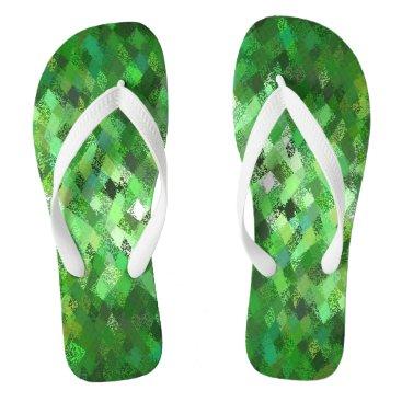 Beach Themed Green Harlequin Abstract Pattern Flip Flops