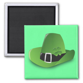 green hat 2 inch square magnet