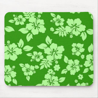 Green Hawaiian Pattern Mouse Pad
