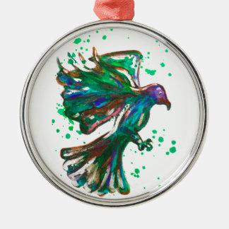 Green Hawk Splatter Watercolour Bird Design Metal Ornament