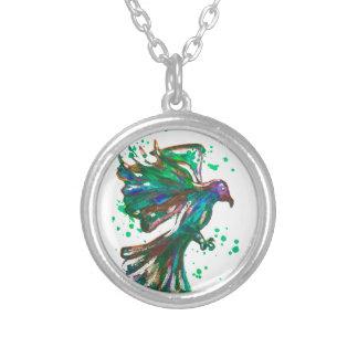 Green Hawk Splatter Watercolour Bird Design Round Pendant Necklace