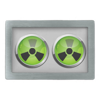 Green hazard buckle. rectangular belt buckle