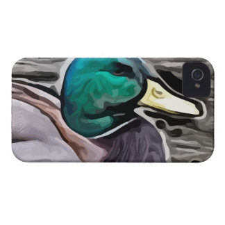 green headed duck  painting iPhone 4 case
