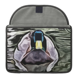 green headed duck swimming painting sleeve for MacBook pro