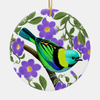 Green Headed Tanager in Thunbergia Ornament