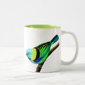 Green Headed Tanager Two Tone Mug