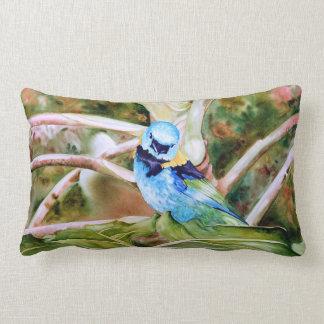 Green-headed Tanager Watercolor Art Lumbar Pillow