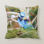Green-headed Tanager Watercolor Fine Art Pillow