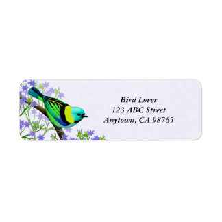 Green Headed Tanager Wild Bird Label
