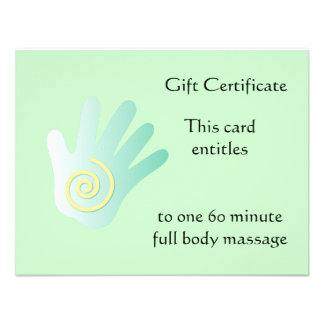 Green Healing Hand Gift Certificate Custom Announcements