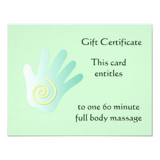 Green Healing Hand Gift Certificate 4.25x5.5 Paper Invitation Card