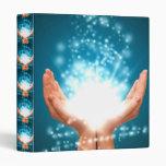 Green healing hands chakra Reiki energy zen yoga Vinyl Binder