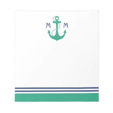 Valentines Themed Green Heart Anchor Monogram Notepad