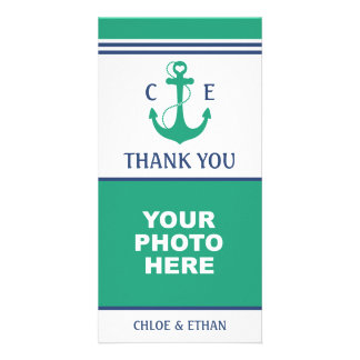 Green Heart Anchor Monogram Photo Thank You Card