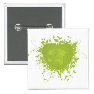 Green Heart and Earth Button