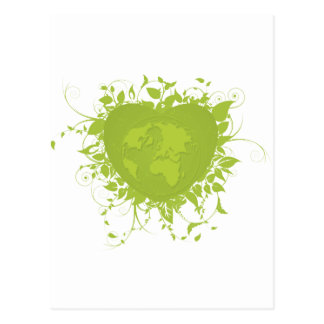 Green Heart and Earth Postcard