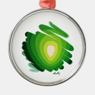 Green Heart Art Spirals Premium Round Ornament