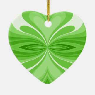 Green Heart Butterfly Abstract Ceramic Ornament