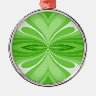 Green Heart Butterfly Abstract Metal Ornament