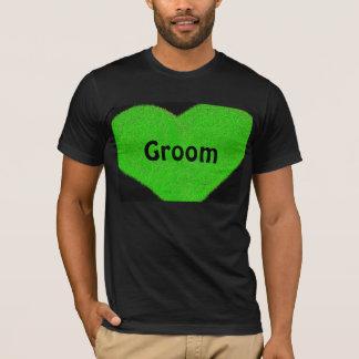 Green heart customized groom's t-shirt