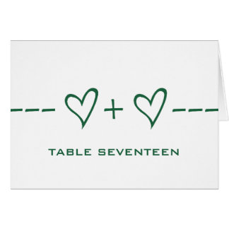 Green Heart Equation Table Number Card