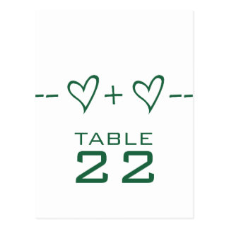 Green Heart Equation Table Number Postcard