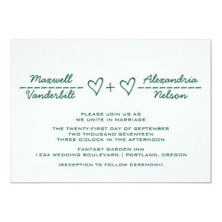 "Green Heart Equation Wedding Invite 5"" X 7"" Invitation Card"