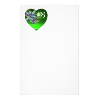 GREEN HEART & FORGET ME NOTS MONOGRAM STATIONERY