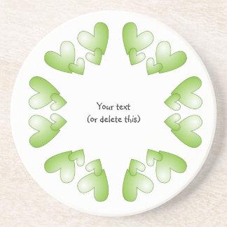 Green heart  frame coaster