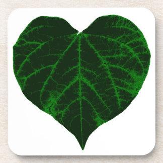 Green Heart Leaf Drink Coaster