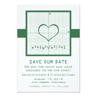 Green Heart Math Graph Save the Date Invite
