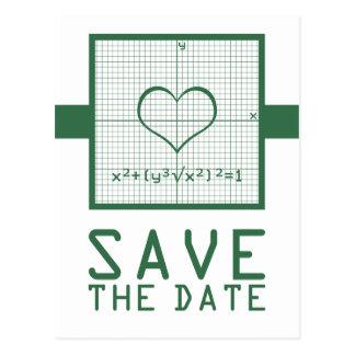 Green Heart Math Graph Save the Date Postcard