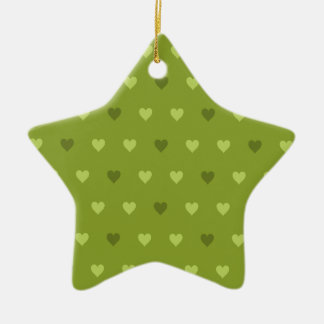 Green Heart Pattern Ceramic Ornament