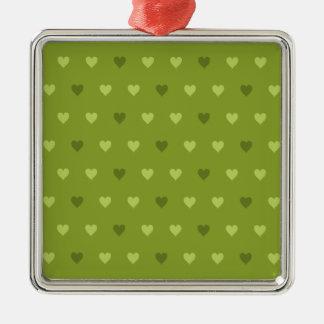 Green Heart Pattern Metal Ornament