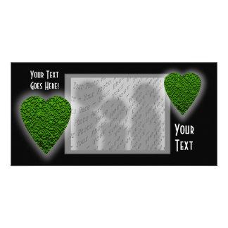 Green Heart. Patterned Heart Design. Card