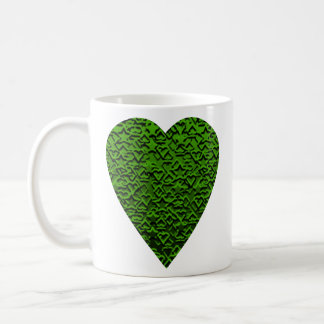 Green Heart. Patterned Heart Design. Coffee Mug